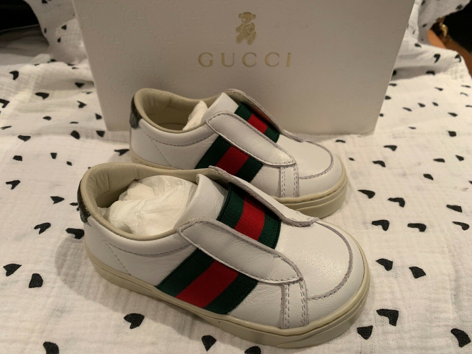 GUCCI Baby Toddler White Ace Sneaker with Web Size 20