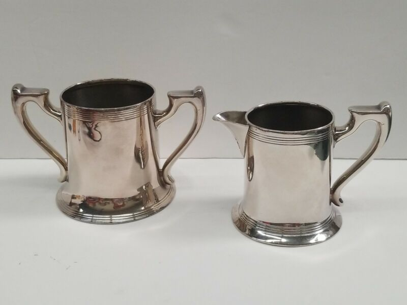 Antique Quaranteed Plate 834 & PS Co.Sheffield Silver-Plated Creamer & Sugar Set