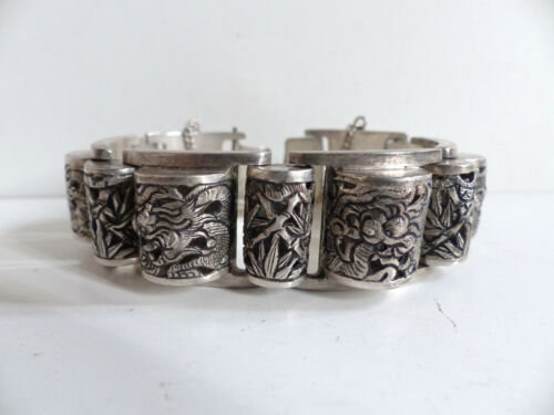 SUPERB OLD CHINESE STERLING SOLID SILVER BRACELET with DRAGONS & BAMBOU