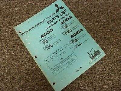 Mitsubishi 4g52 Engine For Fg20 Fg25 Fgc20 Fgc25 Forklift Parts Catalog Manual