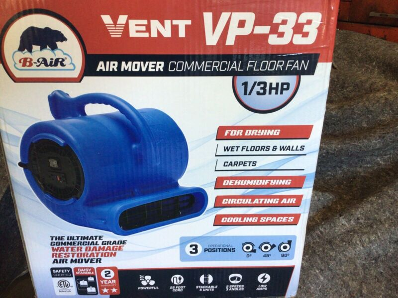 B-Air  Vent VP-33  1/3 hp Commercial Air Mover