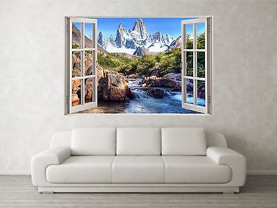 Mountain Scene 1 3D Full Colour Window Home Wall Art Stickers Mural Decal