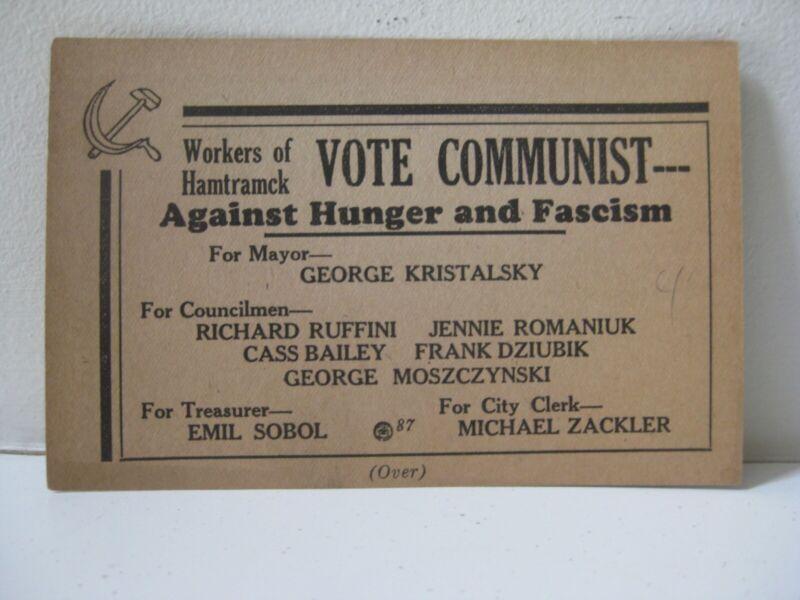 HAMTRAMCK COMMUNIST ELECTION CARD 1934 ENGLISH AND RARE POLISH REVERSE