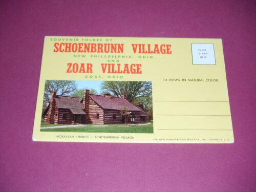 1967 Postcard Folder Schoenbrunn Village New Philadelphia Zoar Village Ohio