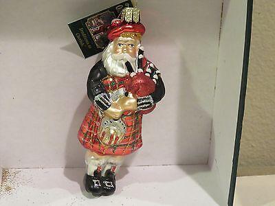 Scottish Santa Old World Christmas glass ornament