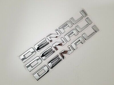 3PC CHROME DENALI DOOR BADGE NAMEPLATE FIT GMC YUKON TERRAIN SIERRA EMBLEM NAME - Gmc Sierra Denali Front Door