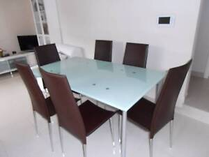 Six brown leather and chrome chairs Strathfield South Strathfield Area Preview
