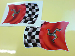 ISLE-OF-MAN-TT-Fans-CHEQUERED-FLAG-Car-Helmet-Motorcycle-Sticker-2-off-95mm