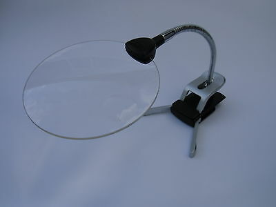 magnifying glass LED stand bench desk magnifier clamp Hands free flexible neck