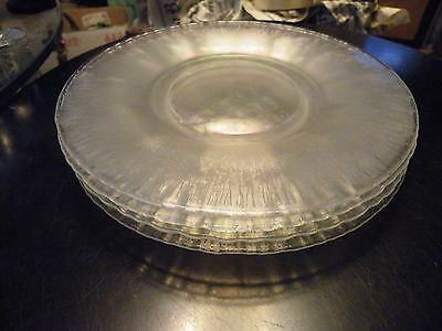 3 IMPERIAL IRIDESCENT STRETCH SATIN GLASS Plates TIFFIN DUGAN FENTON WIDE PANEL