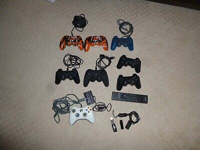 Lot of 8 + Playstation Xbox 360 Controllers Remote & Bluetooth Wireless & Cords for sale  Hamilton