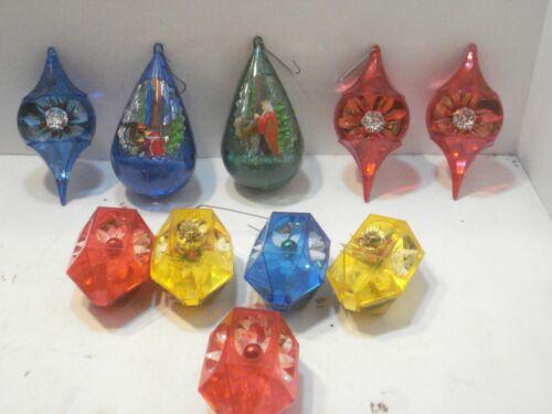10 Assorted Plastic Retro JEWEL BRITE Diorama Christmas Holiday Ornaments
