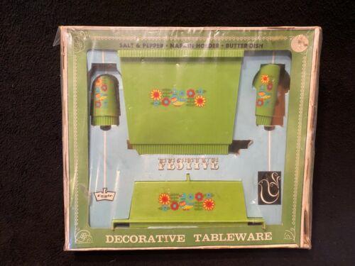 Vintage Eagle Brand Decorative 60s-70s MCM Shakers Napkin Holder Butter Dish MIB