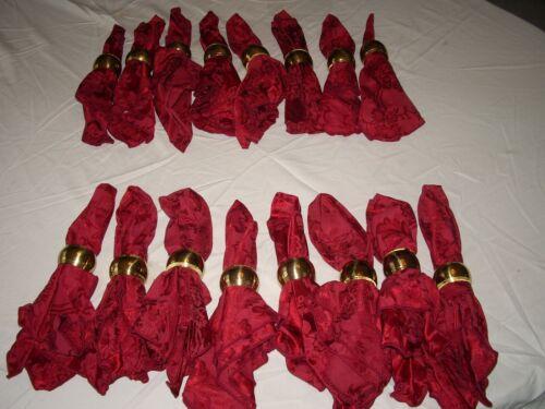 Set of 16 Burgundy Tapestry Cloth Napkins & 16 Gold-tone Napkin Rings