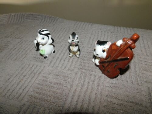 Skunk Figurine Lot Unmarked Japan Vintage One Playing Cello