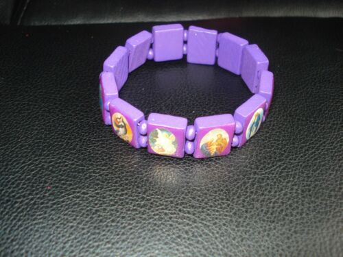 BEAUTIFUL PURPLE WOODEN BEADS HOLY SAINTS  STREATCHABLE BRACELET(USA SELLER)A3
