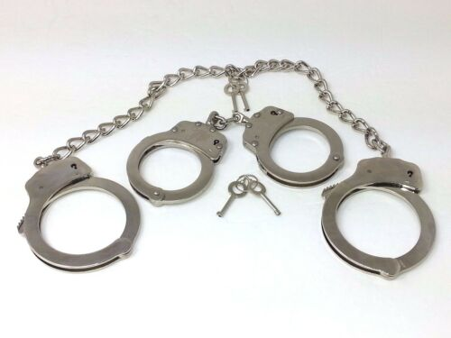 Combo Set Handcuffs/Leg Cuffs POLICE STYLE Double Lock 4 Keys w/Pouch Chrome