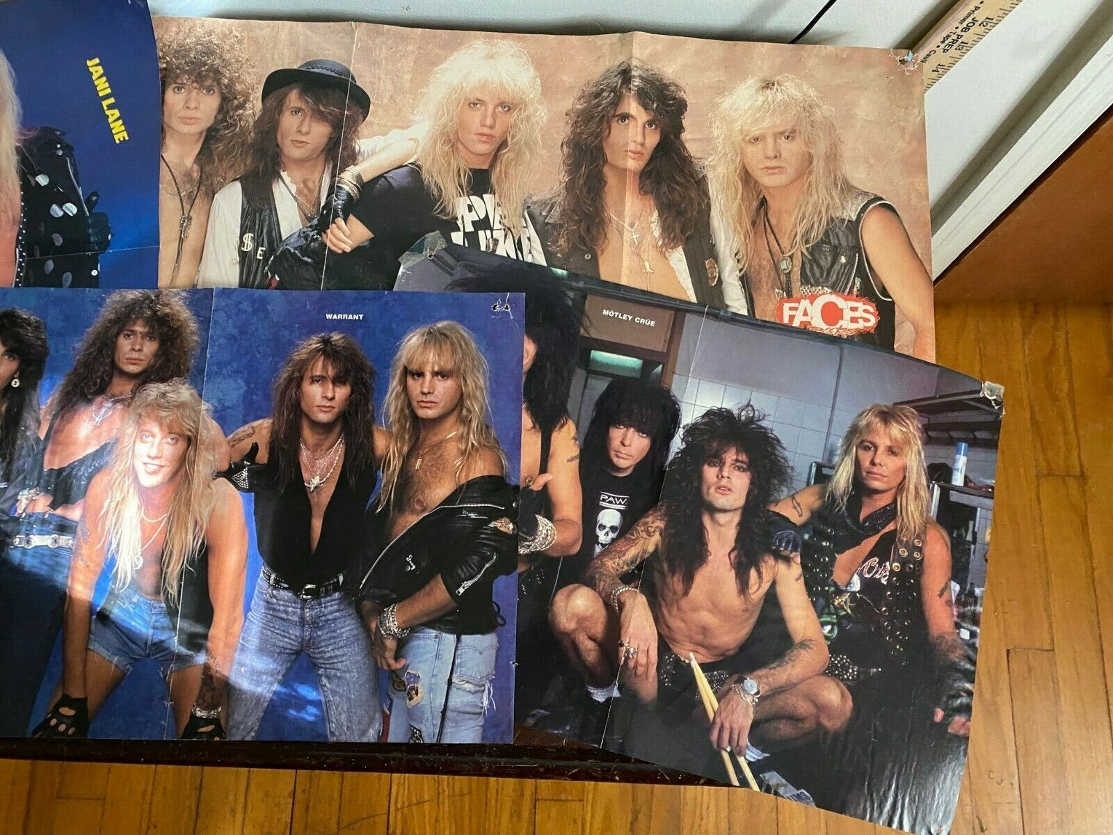 Large Lot Of 80s/90s Hair Band Posters Warrant, Poison, Motley Crue, Etc - $15.99