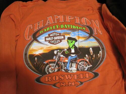 XL Champion, Roswell N.M. Harley Davidson T-Shirt Orange Long Sleeve