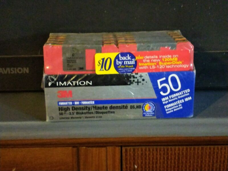 NOS FACTORY SEAL 50 Pack Imation Rainbow Diskette 2HD IBM FORMATTED 1.44MB 3.5""