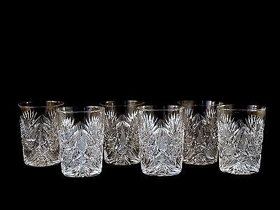Set of 6 American Brilliant ABP Cut Glass Tumblers Rocks Glasses