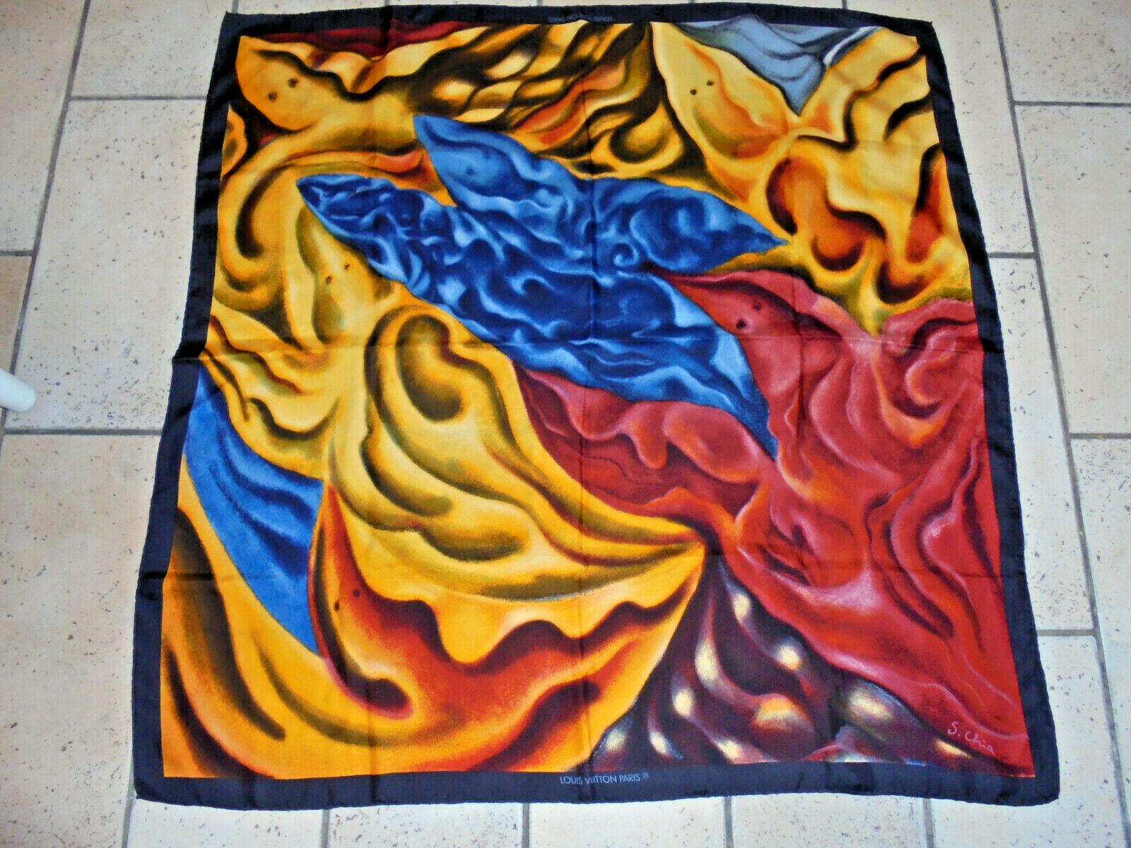 Superbe Étole foulard carré en de soie louis vuitton paris s. chia femme tbe