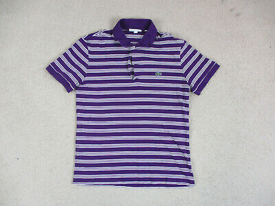 Lacoste Polo Shirt Adult Medium Size 4 Purple White Crocodile Casual Rugby Mens