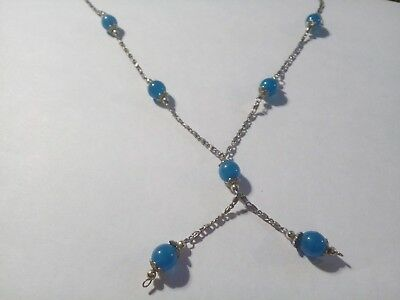Vintage 1950s Silver Coloured Chain with Blue Glass Beads Dangle Necklace for sale  Shipping to Nigeria