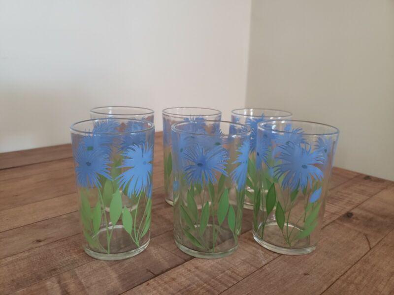 Vintage 4 Oz Juice Glasses Blue Floral Pattern Cottage Farmhouse Set of 6