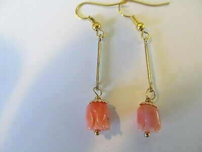 ANGEL SKIN CORAL PIKAKE ROSE BEAD w/LONG THIN STEM HANDCRAFTED PIERCED (Pikake Rose)
