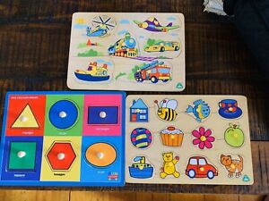 Three As New timber peg board puzzles one with sound