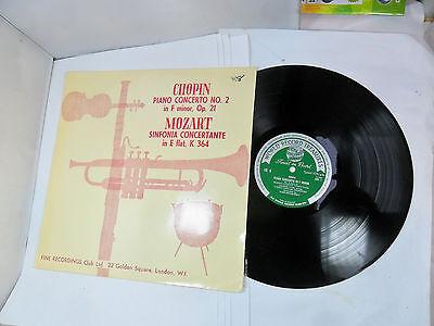 CHOPIN PIANO CONCERTO NO 2 IN F MINOR OP 21 MOZART FINE RECORDINGS SC8  VINYL