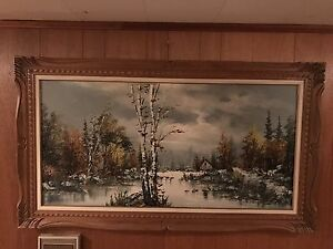 "Large framed painting signed ""Gervais"""