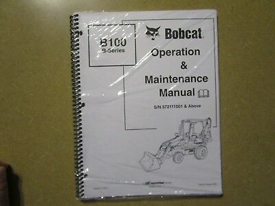 Bobcat B100 B 100 Backhoe Tractor Owners Maintenance Manual