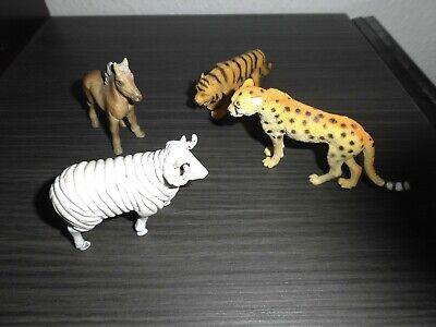 Gepard - Tiger - Fohlen - Widder - 4x Spielzeug Figuren Tiere - Konvolut