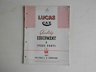 LUCAS Parts List 1961 VAUXHALL BEDFORD cars and commercials
