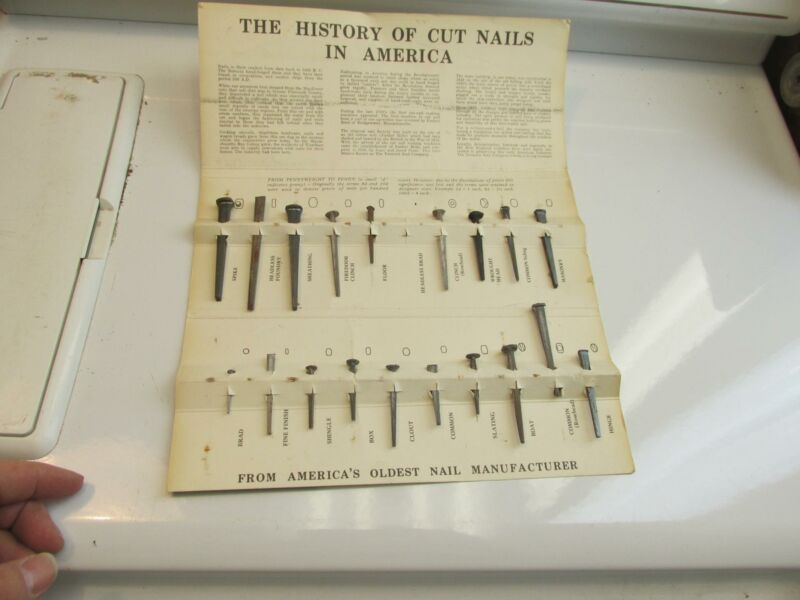 Old Fashion Cut Nails 1819Tremont Nail Co Display 19 Nails, History Of Cut Nails
