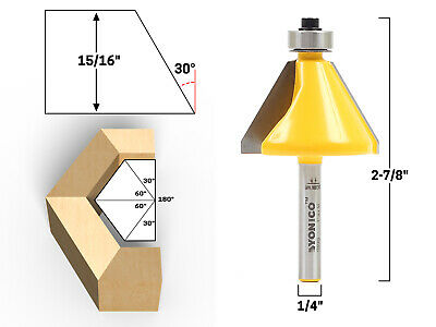 30 Degree Bevel Edge Forming Router Bit - 14 Shank - Yonico 13914q
