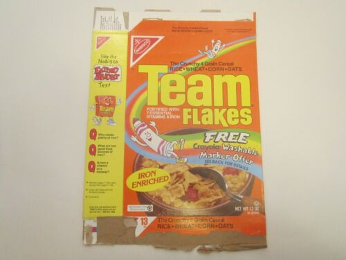 Empty NABISCO Cereal Box 1991 TEAM FLAKES Crayola Marker Offer [P6c17]