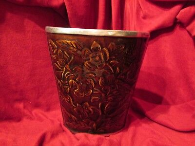 metal vase with plastic floral covering silver & brown 8.5