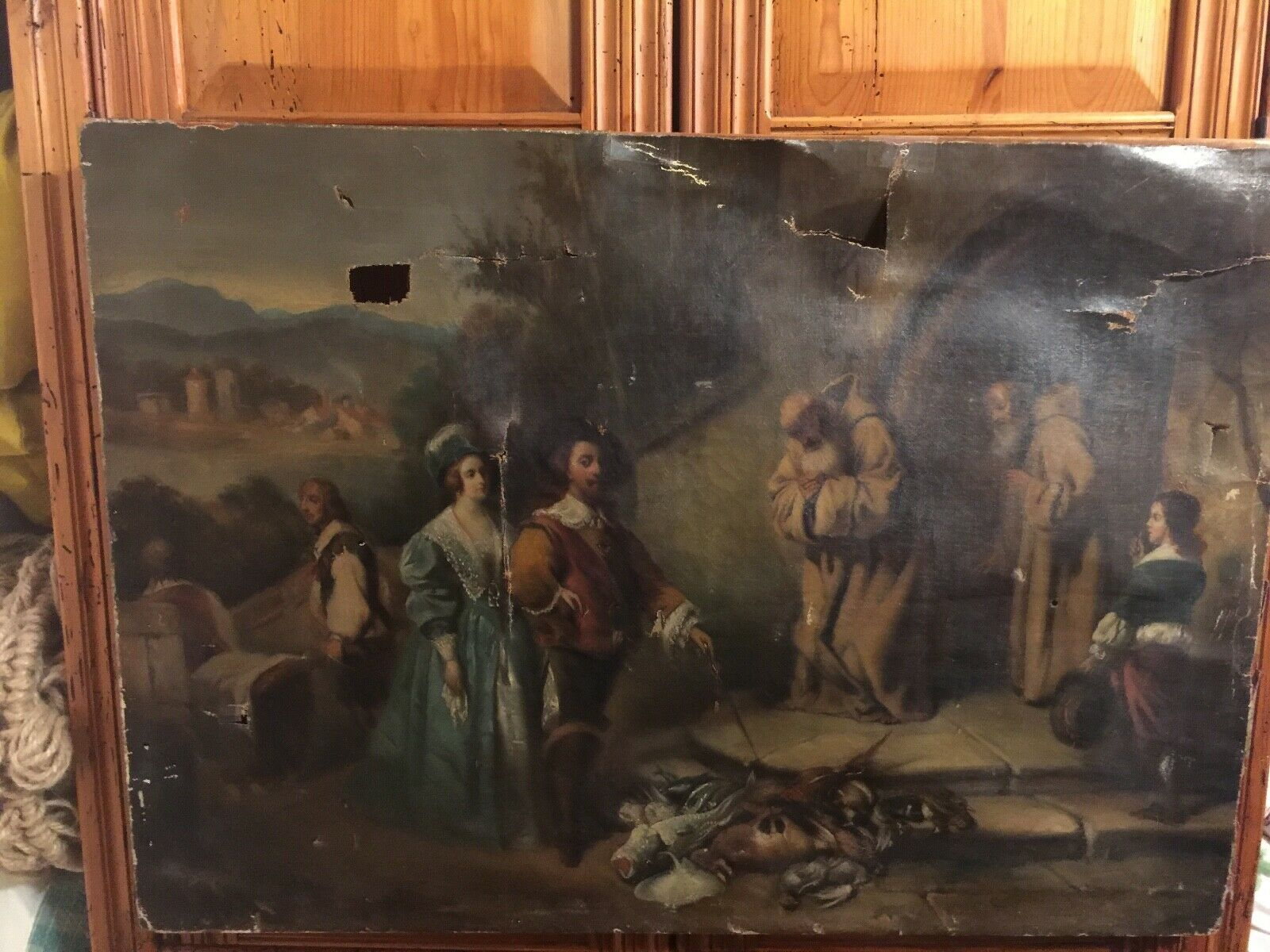 Vintage Signed 1855 Painting On Canvas Needs Restoring Very Large 35 X25 . - $125.00