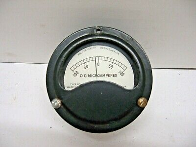 Vintage Roller-smith Type Ddh Panel Gauge D.c. Microamperes N. 39104 Made In Usa