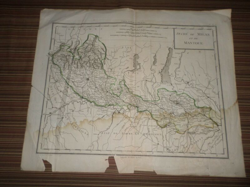 Rare Antique Map of Milan Area  Early 19th century
