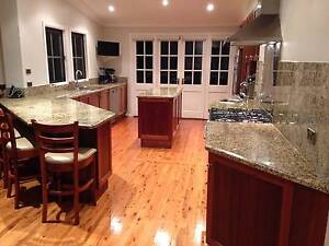 Large wooden kitchen with granite benchtops and splashback Grays Point Sutherland Area Preview