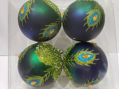 Peacock Blue Green Glitter Beaded Christmas Ball Ornaments Decor 4.25