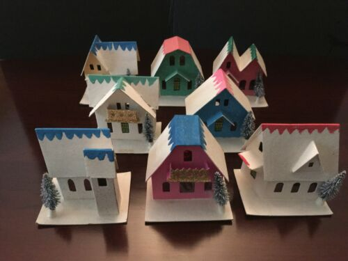 Lot of 7 Putz Village Houses and 1 Church Japan