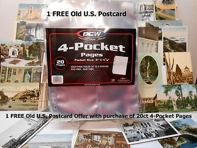 Postcards 4 Pocket Album Page Archival Acid Free 20 ct  ! FREE U.S. POSTCARD !