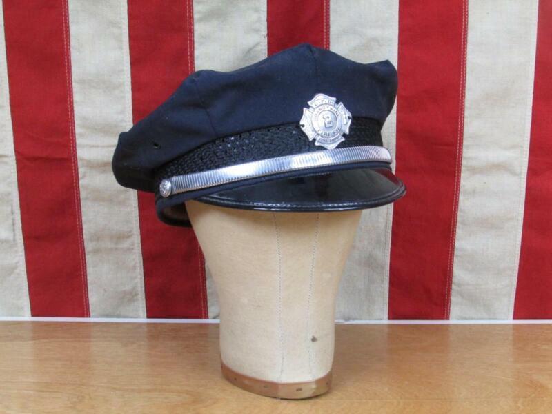 Vintage 1940s Firefighters Hat Visor Cap Brandywine Fire Co.Badge Coatesville,PA