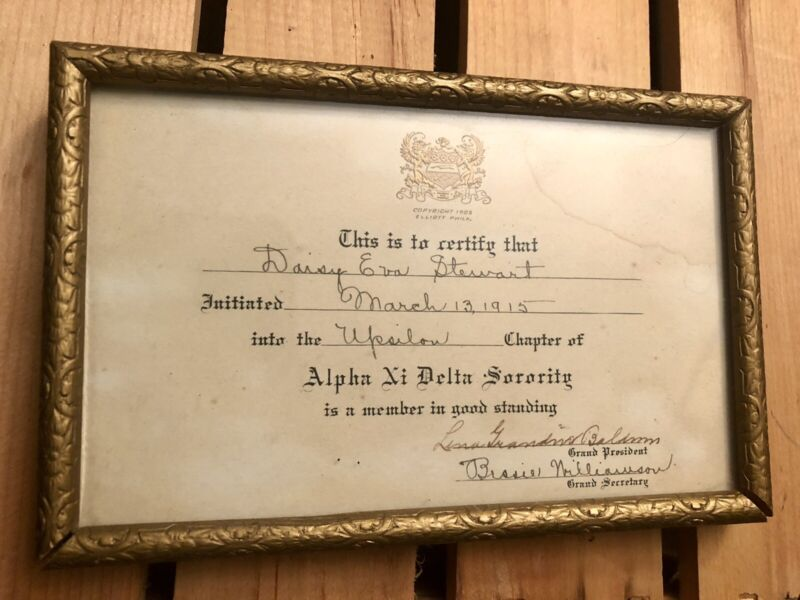 1915 Alpha Xi Delta Upsilon Chapter Burlington, Vermont