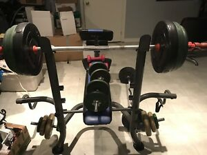 Work out bench plus weights